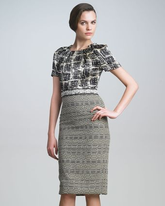Carolina Herrera Tweed Combo Dress - Lyst
