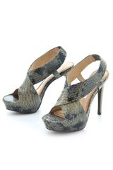 Diane Von Furstenberg Zia Embossed Platform Sandals in Gray (grey) - Lyst