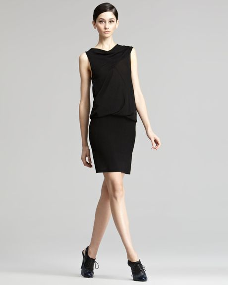 Donna Karan New York Drapetop Jersey Dress in Black - Lyst