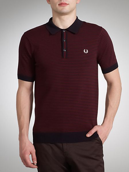 Fred Perry Knitted Fine Striped Polo Shirt In Blue For Men