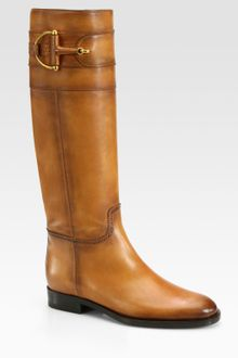 Gucci Class Tall Burnished Leather Horsebit Boots - Lyst