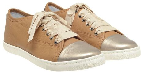 Lanvin Leather Trainers with Metallic Toe Cap in Gold (beige) - Lyst