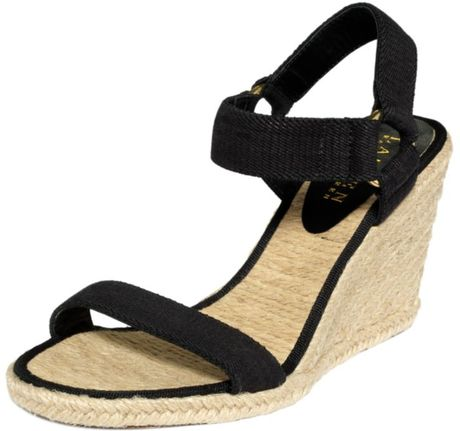 Lauren By Ralph Lauren Indigo Espadrille Wedge Sandals in Black