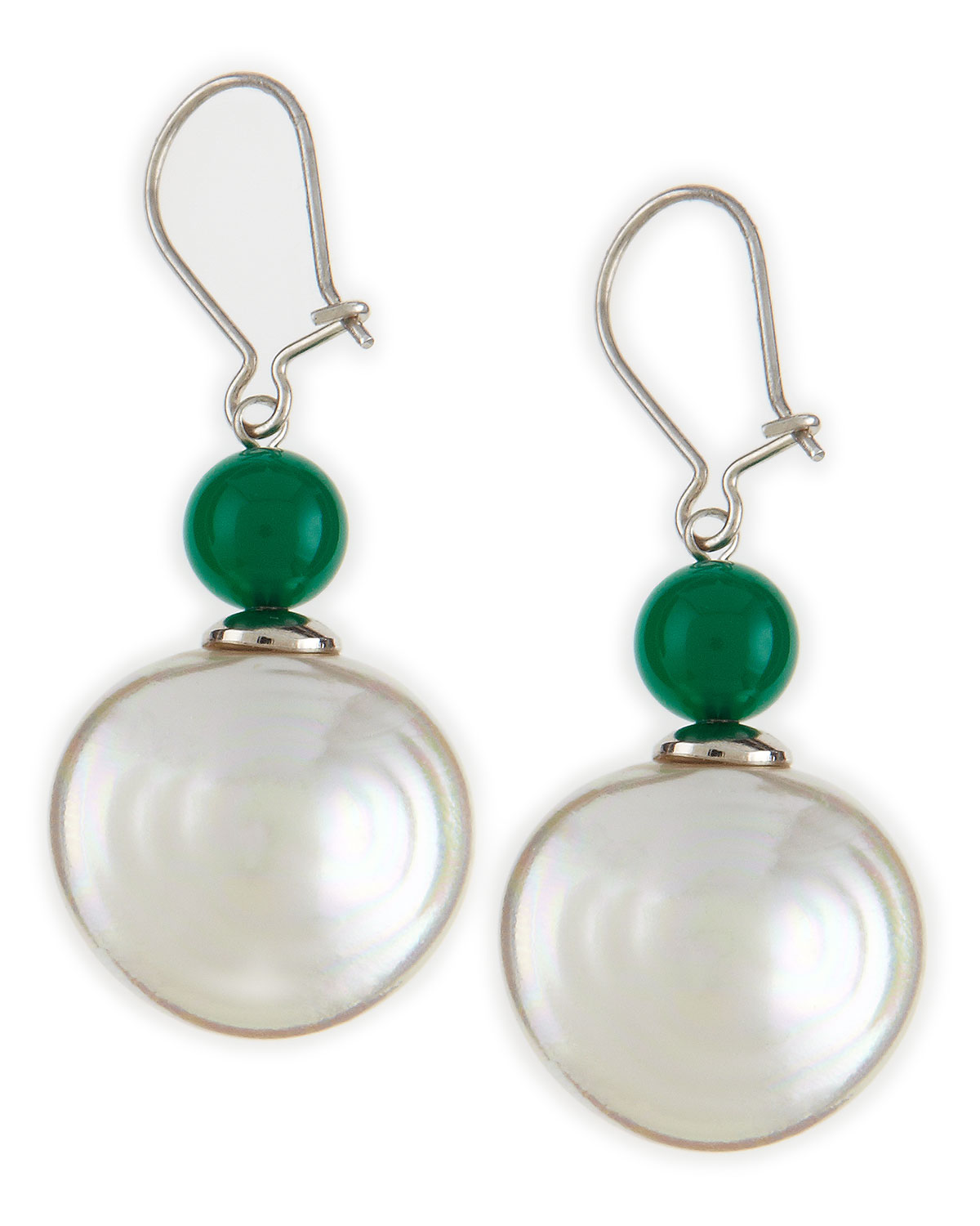 majorica pearl and chrysoprase drop earrings in green