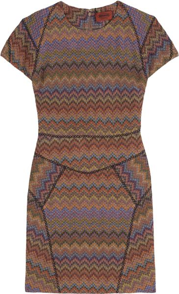 Missoni Cap Sleeve Lurex Dress in Brown (multi) - Lyst