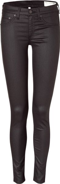 Rag & Bone Obsidian Coated Stretch Leggings in Brown (bone) - Lyst