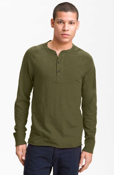 Rag & Bone Raglan Henley in Green for Men (olive) - Lyst