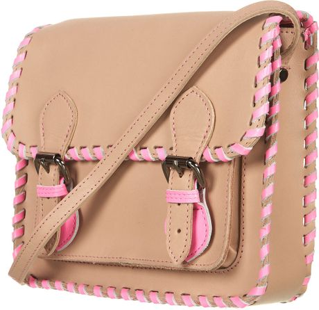 Topshop Neon Whipstitch Satchel in Beige (natural) - Lyst