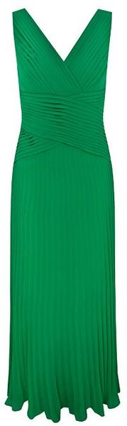 Alexon Lime Maxi Pleat Wrap Dress In Green Lyst