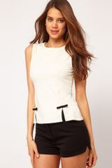 ASOS Collection  Top with Bow Peplum - Lyst