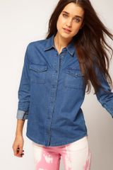 Asos Collection  Washed Denim Shirt with Bow Back Detail in Blue (midblue) - Lyst