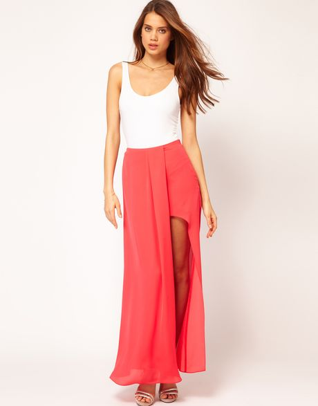 asos asos maxi skirt in high low hem in orange coral lyst