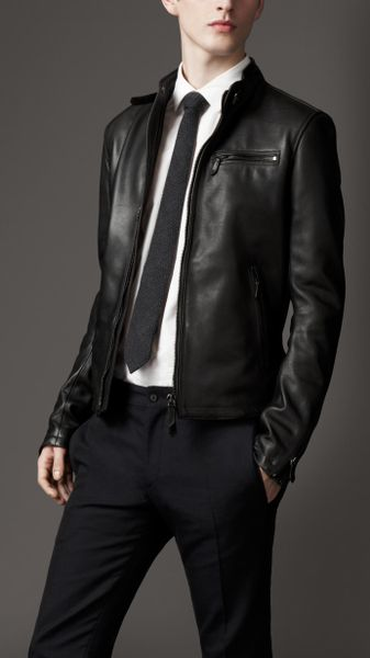 Burberry Leather Biker Jacket in Black for Men | Lyst