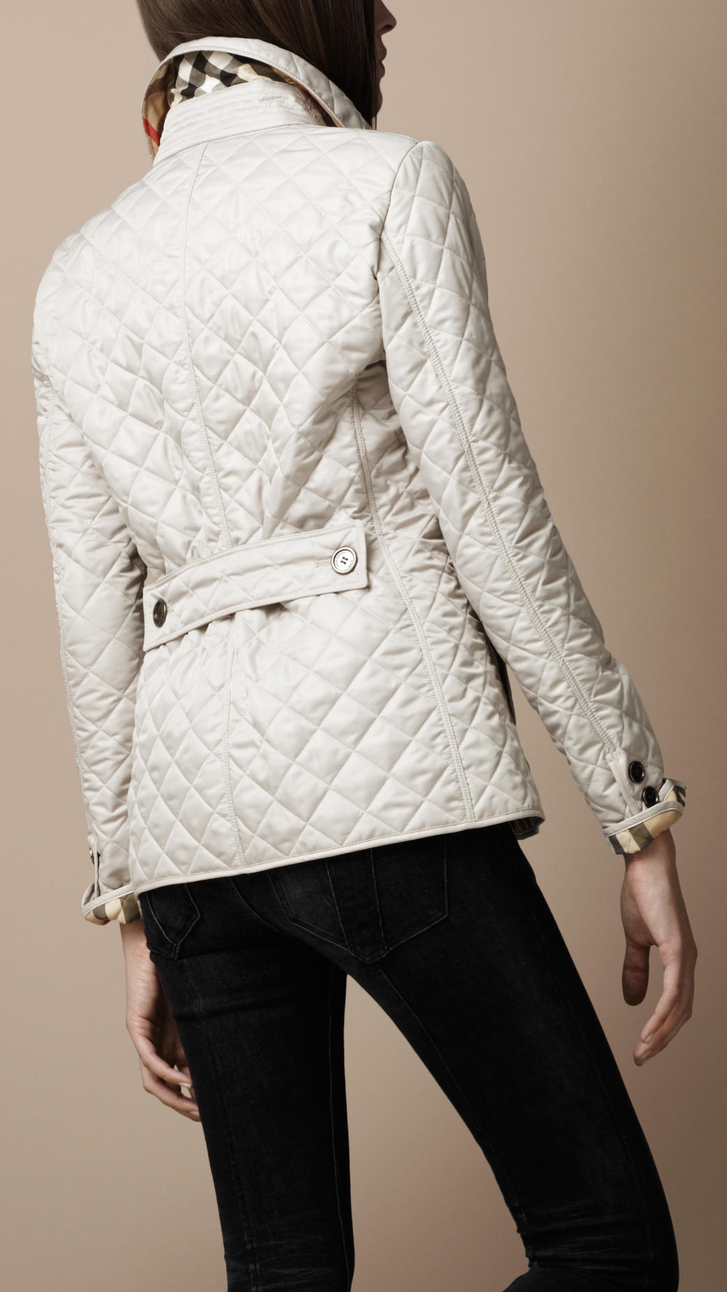 Burberry Brit Cinched Waist Quilted Jacket In Natural Lyst