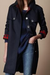 Burberry Brit Long Cotton Trench Coat - Lyst