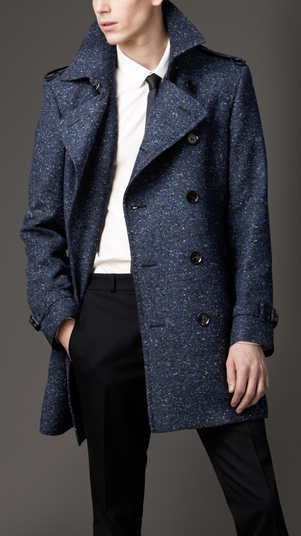 Lyst Burberry Midlength Virgin Wool Blend Trench Coat In