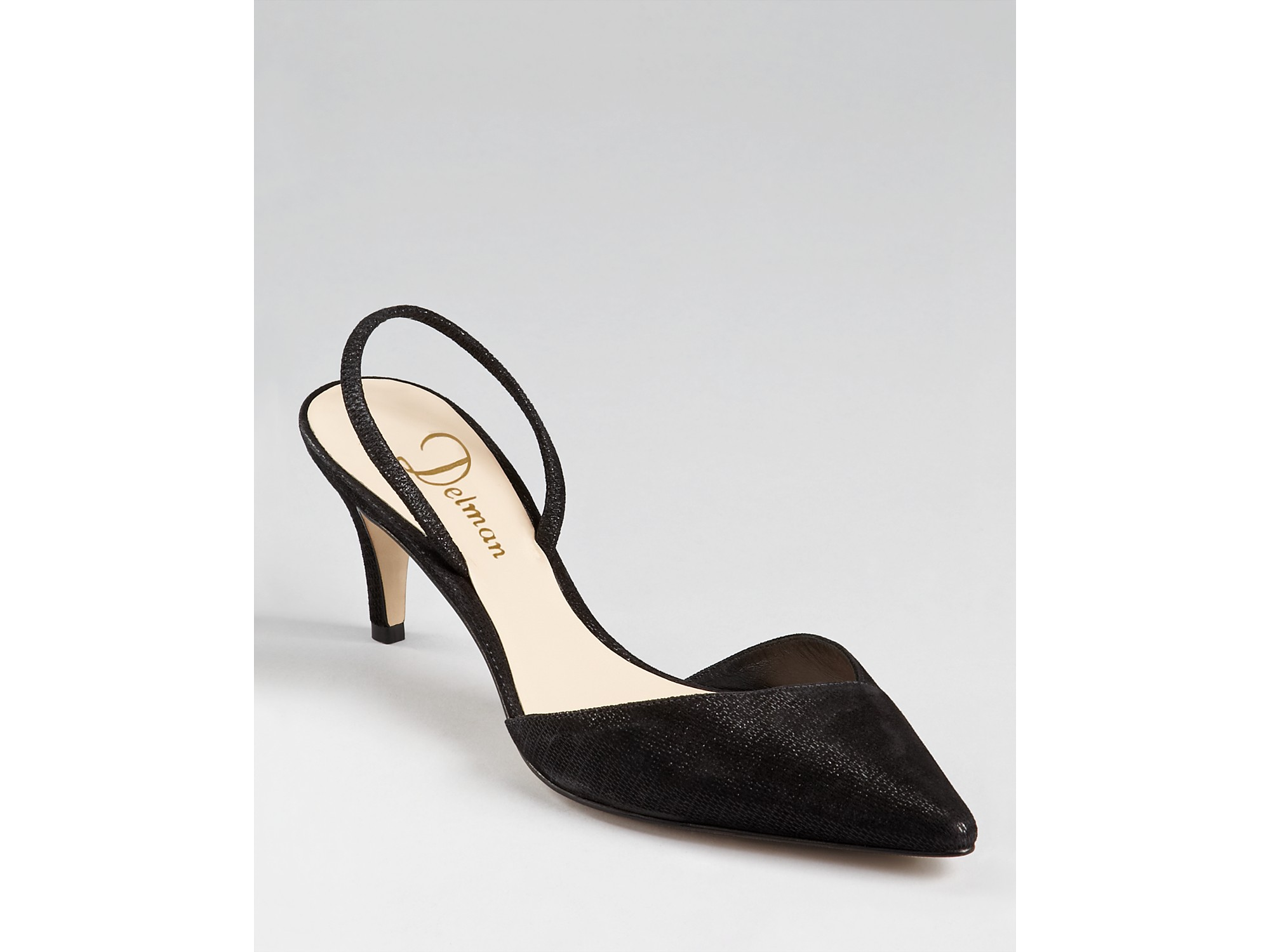 Delman Pumps Laci Sling back Kitten Heel in Black | Lyst