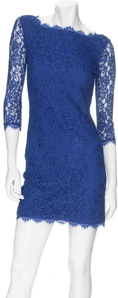 Diane Von Furstenberg Zarita Lace Dress in Blue - Lyst