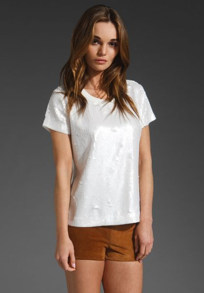 Elizabeth And James Sequin Tomboy Tee in White (ecru) - Lyst