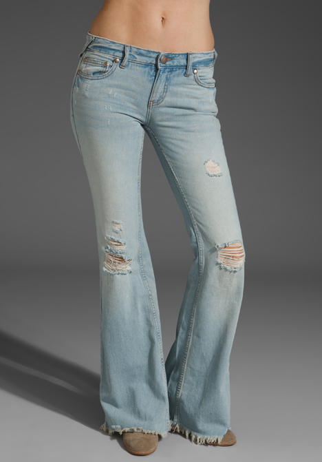 Free people Rugged Ripped Flares in Blue | Lyst