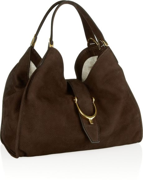 Gucci Soft Stirrup Nubuck Suede Shoulder Bag 53
