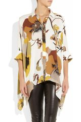 Gucci Printed Silk Blouse in Brown (multicolored) - Lyst