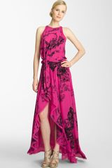 Halston Heritage Print Silk Maxi Dress - Lyst