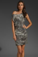 Halston Heritage Cross Hatch Texture Printed On Modal Jersey Dress - Lyst