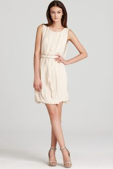 Halston Heritage Dress on Halston Heritage Ruched Silk Mini Dress In Beige  Nude    Lyst
