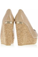 Jimmy Choo Papina Patentleather and Cork Wedges in Beige (nude) - Lyst