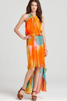 Laundry By Shelli Segal Printed Dress Highlow Hem - Lyst