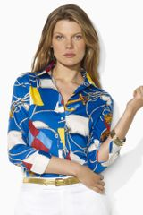 Lauren by Ralph Lauren Cotton Nautical Flag Shirt - Lyst