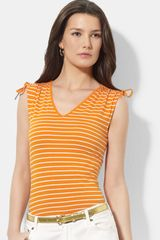 Lauren by Ralph Lauren Drawstring Shoulder Top - Lyst