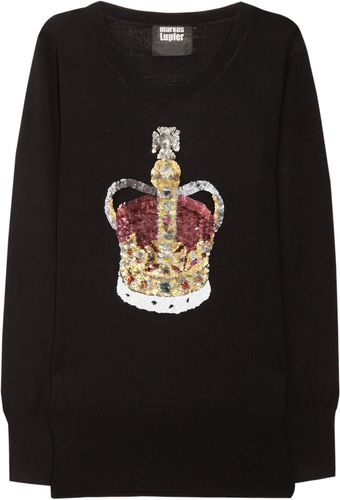 Markus Lupfer Crown Sequined Merino Wool Sweater - Lyst