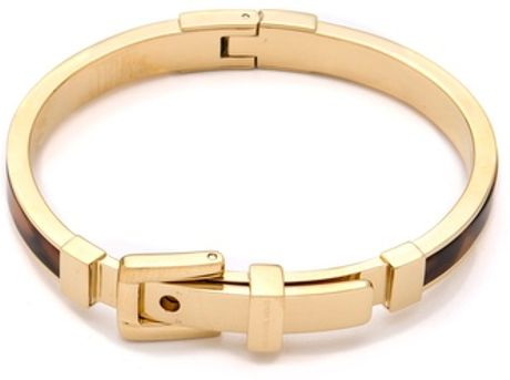 Michael Kors Tortoise Buckle Bangle in Gold - Lyst