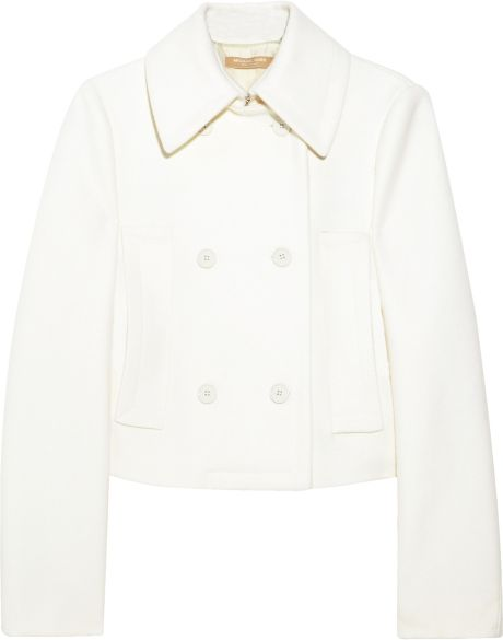 Michael Kors Doublebreasted Meltonwool Peacoat in White (ivory) - Lyst
