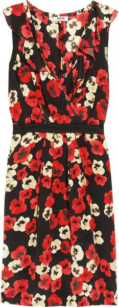 Moschino Cheap & Chic Floralprint Silk Crepe De Chine Dress - Lyst