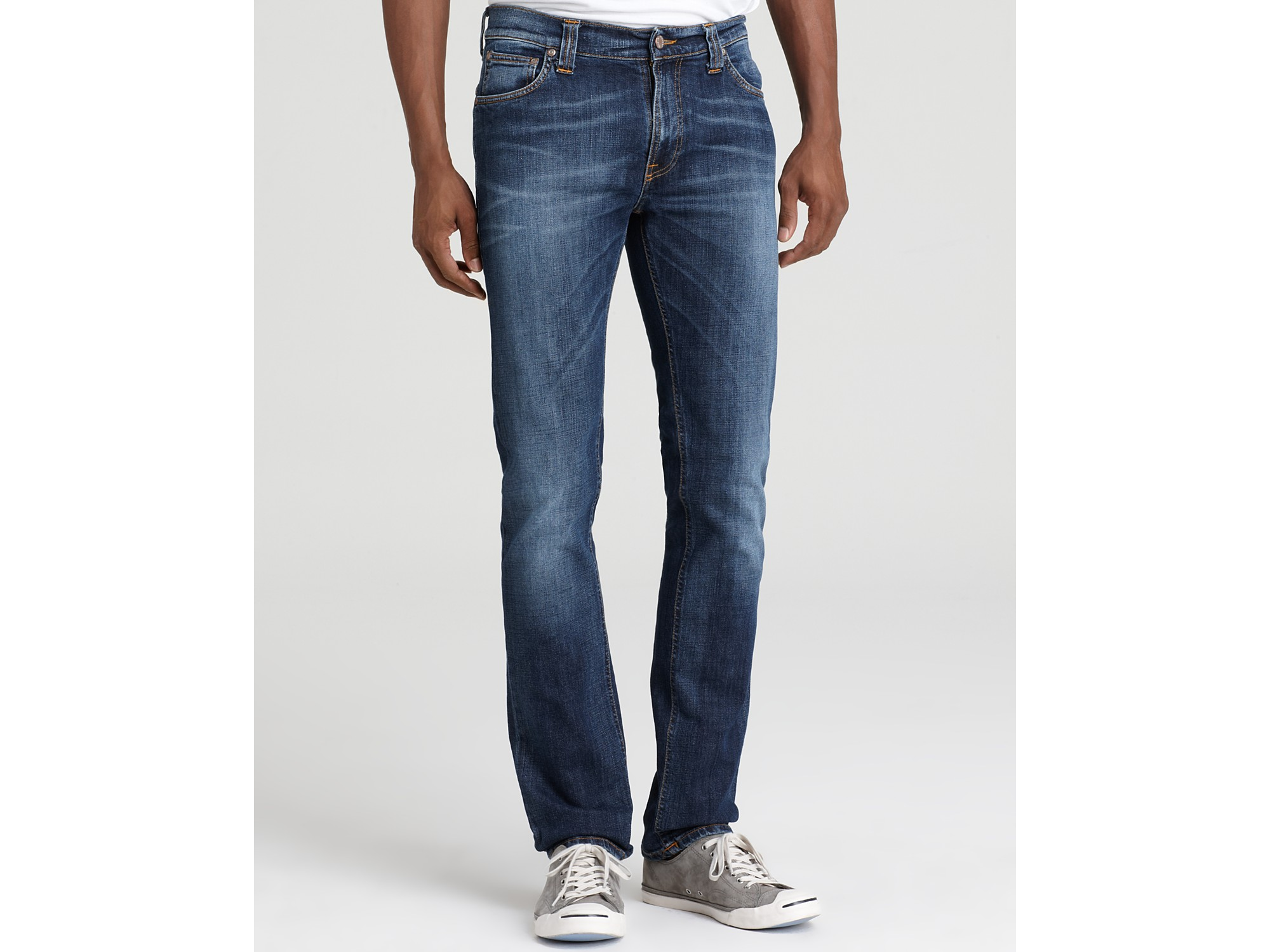 nudie jeans thin finn jeans in used dark shade in blue for men used dark shade lyst. Black Bedroom Furniture Sets. Home Design Ideas