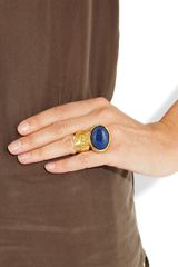 Yves Saint Laurent Arty Goldplated Glass Ring in Blue (gold) - Lyst