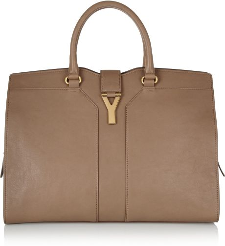 Yves Saint Laurent Cabas Chyc Large Leather Tote in Beige (taupe) - Lyst