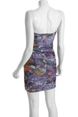Bcbgmaxazria Purple Abstract Print Mesh Kameron Tiered Strapless Dress in Purple - Lyst