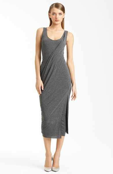 Donna Karan New York Collection Layered Jersey Dress in Gray (flannel) - Lyst