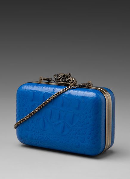 House Of Harlow Marley Clutch in Blue (cobalt croc) - Lyst