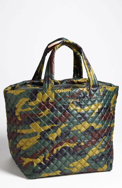 Mz Wallace Metro Large Nylon Tote In Green Quilted Camo