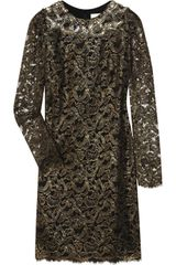 Marchesa Embellished Stretch Silk and Lace Dress in Gold (black) - Lyst