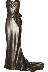 Marchesa Draped Lamé Gown - Lyst