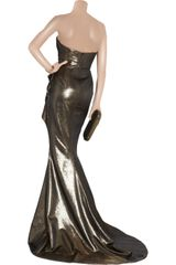 Marchesa Draped Lamé Gown in Gold - Lyst