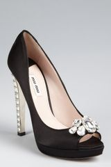 Miu Miu Black Satin Crystal Encrusted Peep Toe Pumps