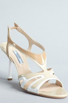 Prada Beige Patent Leather Open Toe Sandals - Lyst