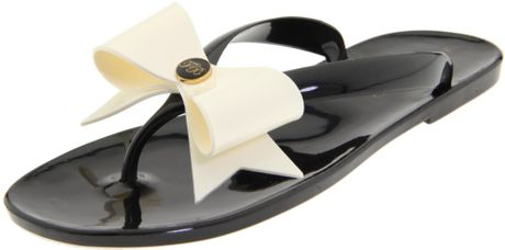 Ted Baker Womens Tied Thong Sandal in Black (black/cream) - Lyst
